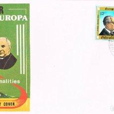 Sellos: GIBRALTAR IVERT Nº 407/9, PERSONAJES: BACARISAS, ARTISTA,MACKINTOSH, FILANTROPO, PRIMER DIA 6-5-1980. Lote 191804252