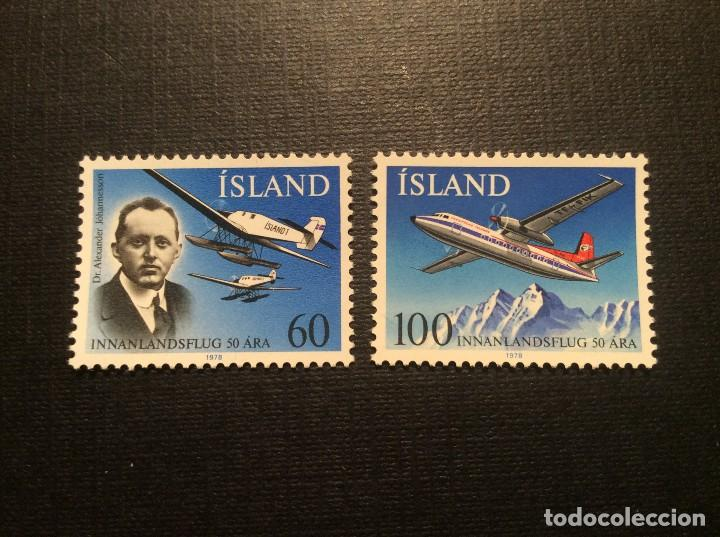 ISLANDIA Nº YVERT 485/6*** AÑO 1978. 50 ANIVERSARIO SERVICIO AEREO INTERIOR (Sellos - Extranjero - Europa - Islandia)