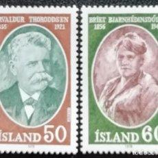 Sellos: 1978. ISLANDIA. 481/482. THORENDDSEN,EXPERTO CIENCIAS; BJARNHEDIASDOTT,DEFENSORA DE LA MUJER. NUEVO.. Lote 192904710
