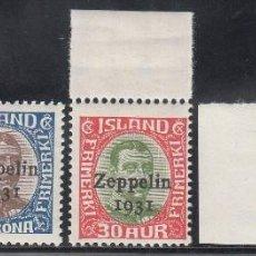 Sellos: ISLANDIA, 1931 YVERT Nº 9 / 11 /**/ , REY CRISTIANO X, SOBRECARGADO ZEPPELIN 1931. Lote 196218241