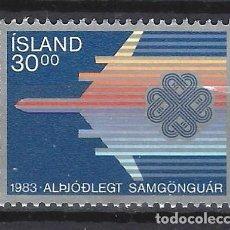 Sellos: ISLANDIA 1983 - AÑO INTERNACIONAL DE LAS COMUNICACIONES - SELLO NUEVO **. Lote 204747636