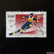 Sellos: ISLANDIA YVERT 835 SELLO SUELTO USADO. DEPORTES. OLIMPIADA DE NAGANO 98 ESQUÍ. Lote 206517132