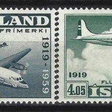 Sellos: ISLANDIA 1959 - 50º ANIV. DEL TRANSPORTE AÉREO, S.COMPLETA - SELLOS NUEVOS **. Lote 206541408