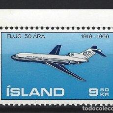Sellos: ISLANDIA 1969 - BOEING 727, AÉREO - SELLO NUEVO **. Lote 206541506