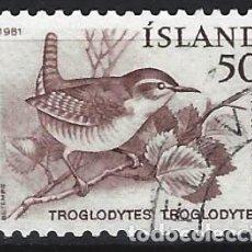 Sellos: ISLANDIA 1981 - AVES, CHOCHÍN - SELLO USADO. Lote 206541593