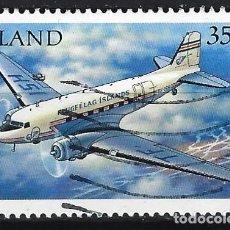 Sellos: ISLANDIA 1997 - AEROPLANOS, DOUGLAS DC-3 DAKOTA C47 TF-ISH - SELLO USADO. Lote 206541812