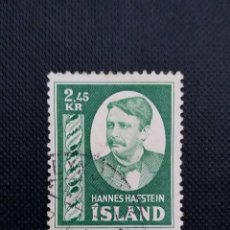 Sellos: SELLO DE ISLANDIA, 1954, HOMENAJE A HANNES HAFSTEIN. Lote 213745152