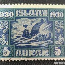 Sellos: SELLO POSTAL DE ISLANDIA 1930 MILENARIO DEL PARLAMENTO ISLANDÉS 5 AUR. Lote 220081746