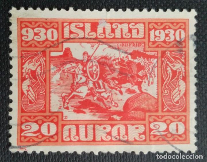 SELLO POSTAL DE ISLANDIA 1930 MILENARIO DEL PARLAMENTO ISLANDÉS, 20 AUR (Sellos - Extranjero - Europa - Islandia)