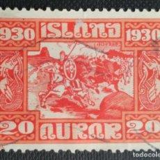 Sellos: SELLO POSTAL DE ISLANDIA 1930 MILENARIO DEL PARLAMENTO ISLANDÉS, CABALGADA DE LOS VIKINGOS 20 AUR. Lote 220082450