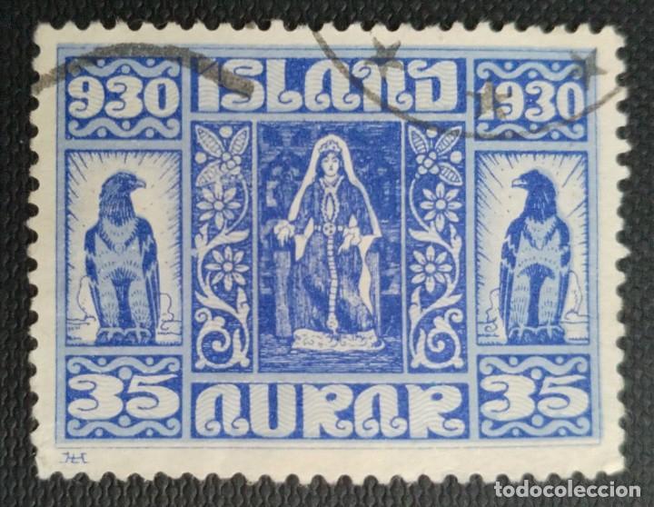 SELLO POSTAL DE ISLANDIA 1930 MILENARIO DEL PARLAMENTO ISLANDÉS LA REINA AUD EN TRAJE NACIONAL 35AUR (Sellos - Extranjero - Europa - Islandia)