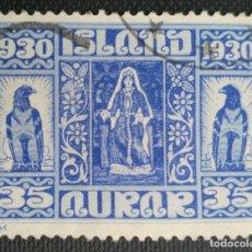 Sellos: SELLO POSTAL DE ISLANDIA 1930 MILENARIO DEL PARLAMENTO ISLANDÉS LA REINA AUD EN TRAJE NACIONAL 35AUR. Lote 220083120