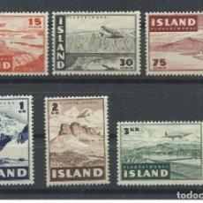 Sellos: SELLOS NUEVOS DE ISLANDIA 1947, CORREO AEREO YT 21/ 26. Lote 221613048