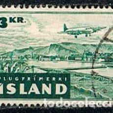 Sellos: ISLANDIA AEREO IVERT Nº 26, AVION SOBREVOLANDO ISLANDIA, USADO. Lote 224505542