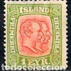Timbres: ISLANDIA IVERT Nº 47 (AÑO 1907), REYES CHISTIAN IX Y FEDERICO VIII, NUEVO CON SEÑAL DE CHARNELA. Lote 224506977