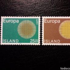 Sellos: ISLANDIA YVERT 395/6 SERIE COMPLETA NUEVA ***. EUROPA CEPT 1970.. Lote 224635177
