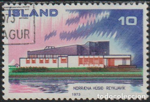 ISLANDIA 1973 SCOTT 455 SELLO * NORDEN CASA DEL NORTE NORRENA HUSID REYKJAVIK MICHEL 479 YVERT 432 (Sellos - Extranjero - Europa - Islandia)