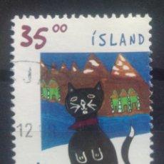 Sellos: ISLANDIA NAVIDAD 1998 GATO SELLO USADO. Lote 232778132