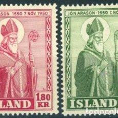 Sellos: ISLANDIA 1950 IVERT 234/5 *** 4º CENTENARIO MUERTE DEL OBISPO JON ARASON - RELIGIÓN. Lote 233124475