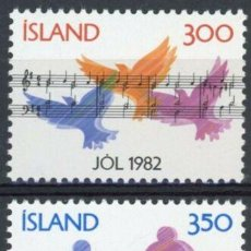 Sellos: ISLANDIA 1982 IVERT 543/4 *** NAVIDAD - LA MÚSICA. Lote 233125365