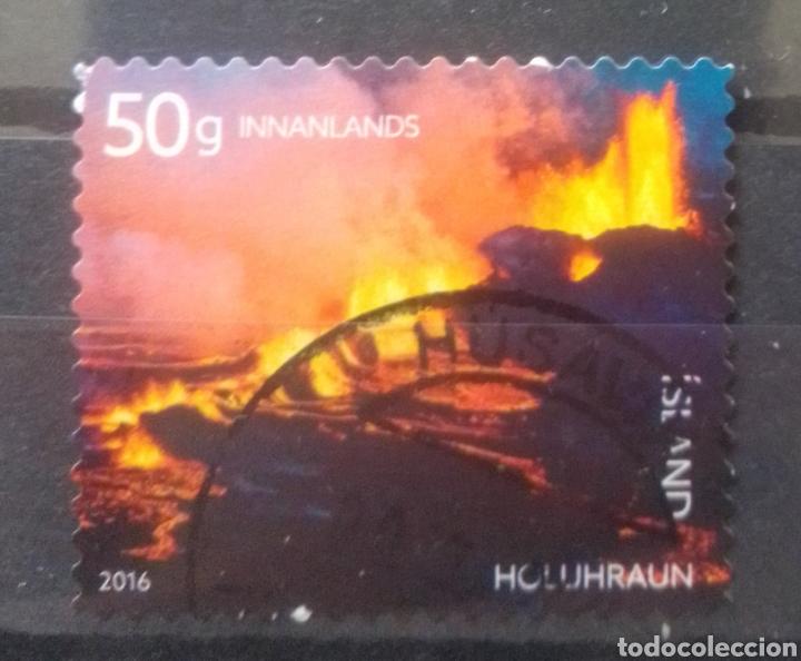 ISLANDIA VOLCÁN HOLLIU-IRAUM SELLO USADO (Sellos - Extranjero - Europa - Islandia)