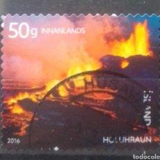 Sellos: ISLANDIA VOLCÁN HOLLIU-IRAUM SELLO USADO. Lote 235614290