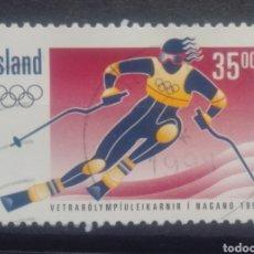 Sellos: ISLANDIA OLÍMPIADAS INVIERNO NAGANO 1998 SELLO USADO. Lote 273593598