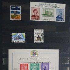 Sellos: LOTE DE 2 BLOCS + 3 SELLOS ISLANDIA VARIADOS NUEVOS, VER FOTOS. Lote 240770495