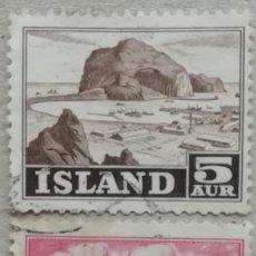 Sellos: 1954. ISLANDIA. 254 / 255. ISLA VESTMANNAEYFAR, BARCO DE PESCA. SERIE COMPLETA. USADO.. Lote 244870640