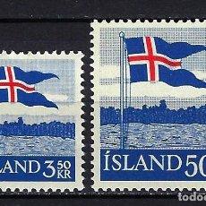 Sellos: 1958 ISLANDIA MICHEL 327/328 YVERT 286/287 BANDERA NACIONAL MNH** NUEVOS SIN FIJASELLOS. Lote 246642500