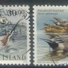 Selos: ISLANDIA AVES ACUATICAS PATOS SERIE DE SELLOS USADOS. Lote 250306680