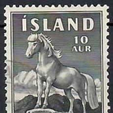 Sellos: LIQUIDACIÓN. ISLANDIA 1958, YVERT 283. USADO. CABALLOS. FAUNA. MAMÍFEROS.. Lote 262969100