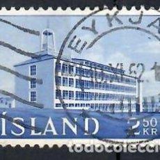 Sellos: LIQUIDACIÓN. ISLANDIA 1962, YVERT 316. USADO. - INSTITUTO PRODUCTIVIDAD. ARQUITECTURA. EDIFICIOS.. Lote 262970695