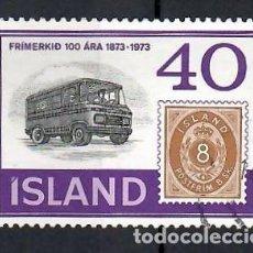Sellos: LIQUIDACIÓN. ISLANDIA 1973, YVERT 429, USADO. CENTENARIO SELLO ISLANDÉS. SELLOS EN SELLOS. CAMIÓN.. Lote 262972885