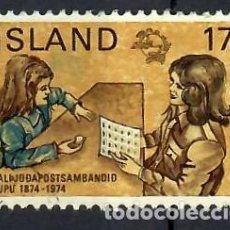 Sellos: LIQUIDACIÓN. ISLANDIA 1974, YVERT 451. USADO. CENT. UNIÓN POSTAL UNIVERSAL, UPU. OFICINA CORREOS.. Lote 262973980
