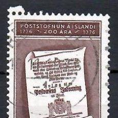 Sellos: LIQUIDACIÓN. ISLANDIA 1976, YVERT 469. USADO. 2º CENTENARIO DEL CORREO ISLANDÉS. HISTORIA POSTAL.. Lote 262974385
