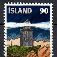 Sellos: LIQUIDACIÓN. ISLANDIA 1978, YVERT 490. USADO.- CENTENARIO SERVICIO NACIONAL DE FAROS. FARO.. Lote 262974830