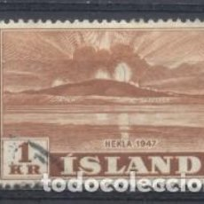 Sellos: ISLANDIA, 1947, VOLCAN,USADO, CHARNELA. Lote 269166563