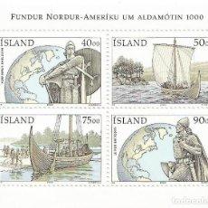 Sellos: AÑO 2000. ISLANDIA. HOJA BLOQUE HB-26. TEMÁTICA VIKINGOS.. Lote 269970553
