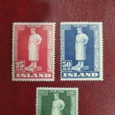 Sellos: SELLOS ISLANDIA AÑO 1941 VII CENTENARIO MUERTE DEL POETA SNORRI STURLUSON. Lote 275942233