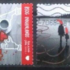 Timbres: ISLANDIA 2015 NAVIDAD SERIE DE SELLOS USADOS. Lote 276223458