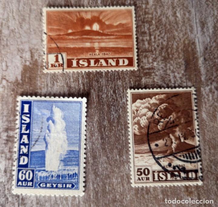 ISLANDIA 3 SELLOS USADOS VOLCÁN HEKLA 1947 - GEISER (Sellos - Extranjero - Europa - Islandia)