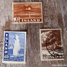 Sellos: ISLANDIA 3 SELLOS USADOS VOLCÁN HEKLA 1947 - GEISER. Lote 277520143