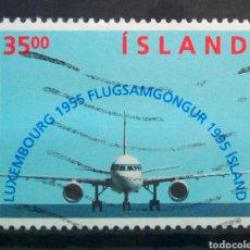 Selos: ISLANDIA 1995 ANIVERSARIO VUELOS INTERNACIONALES SELLO USADO. Lote 288414968