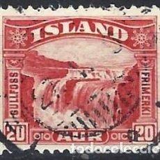 Sellos: ISLANDIA 1931-32 - CATARATAS DE GULLFOSS, 20 AUR ROJO - USADO. Lote 288706123