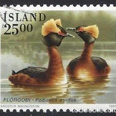 Sellos: ISLANDIA 1991 - FAUNA, AVES, ZAMPULLÍN CUELLIRROJO - USADO. Lote 288707133