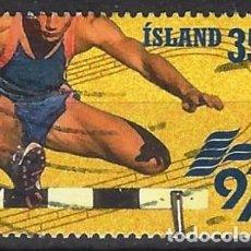 Sellos: ISLANDIA 1997 - JUEGOS DEPORTIVOS DE LOS PEQUEÑOS ESTADOS EUROPEOS, CARRERA DE VALLAS - USADO. Lote 288708028