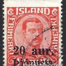 "Sellos: ISLANDIA 1923 - SELLO OFICIAL, REY CHRISTIAN X, SOBREIMPRESO ""20 AUR PJÓNUSTA"" - USADO. Lote 288709418"