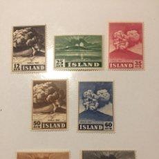 Sellos: SERIE COMPLETA ISLANDIA 1948. VOLCÁN HEKLA. MNH. Lote 289756198