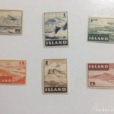 Sellos: SERIE COMPLETA. ISLANDIA 1947. PAISAJES AÉREOS. VOLCÁN. MNH. Lote 289756863